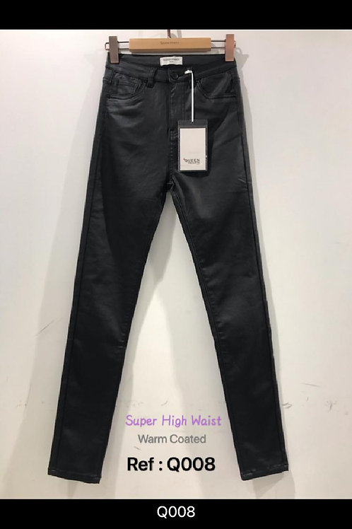 Queen Hearts Leather Look/Wax Coated High Waisted Jeans