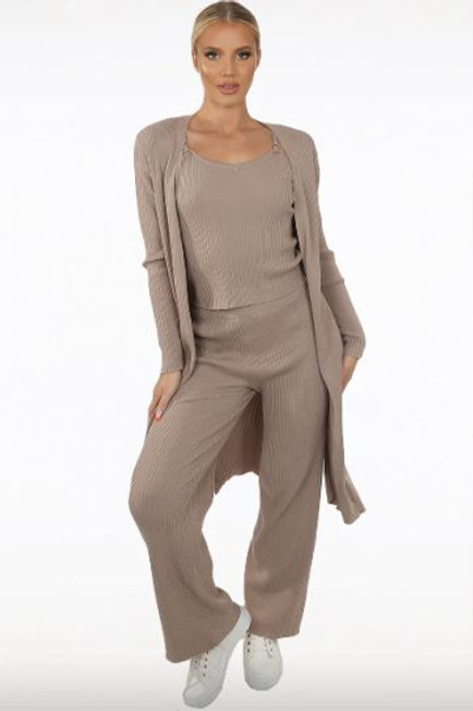 Knitted Jumper With Cami & Trouser 3 Piece Set