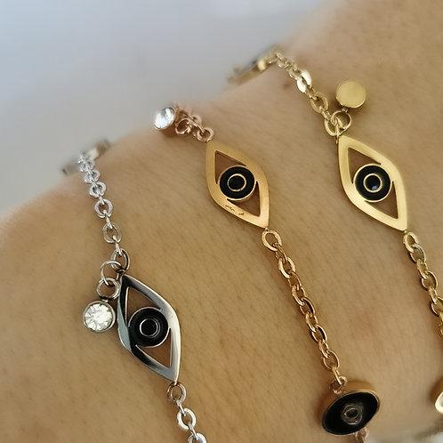 Evil Eye Crystal Stainless Steel Bracelet | Rose Gold, Gold or Silver