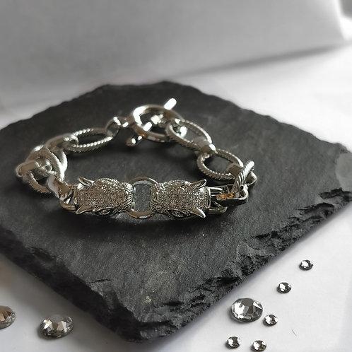 Double Leopard Head Crystal Chain Bracelet | Silver