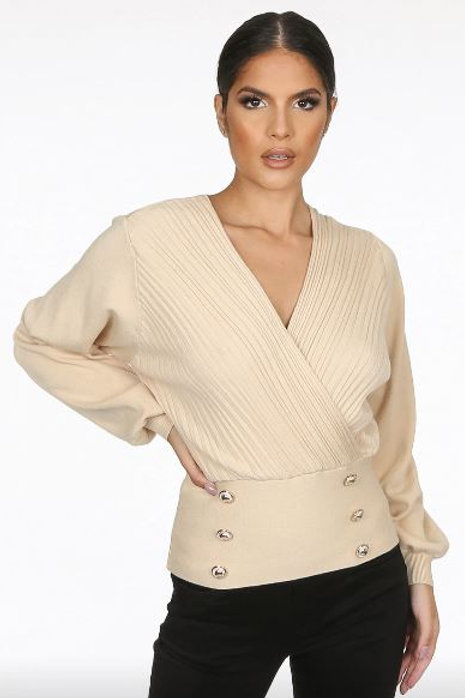 Golden Button Trim Low Neck Wrap Up Top | One Size