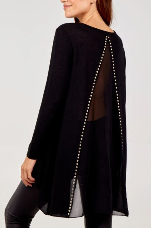 Gold Stud Dipped Hem Tunic With Sheer Back | Black