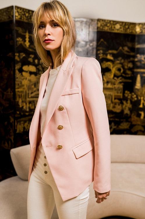 Light Pink Balmain Inspired Golden Button Double-Breast Blazer