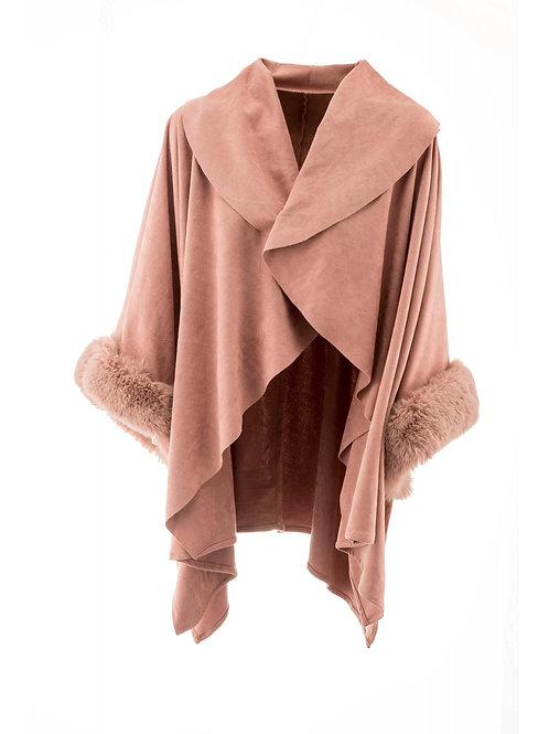 Faux Fur & Faux Suede Wrap | Pink