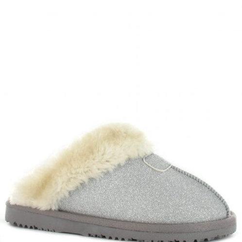 Ella Jill Ladies Slippers With Memory Foam by Ella Shoes   Silver Sparkle