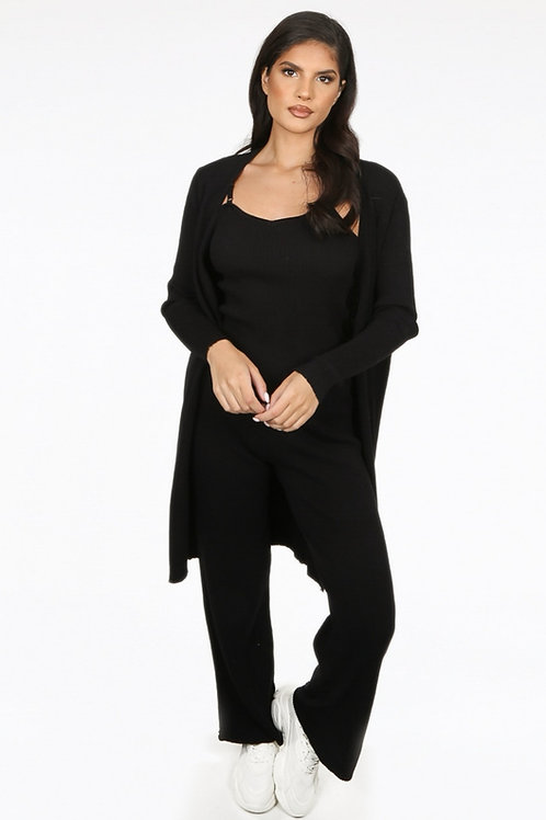 Knitted CardiganWith Cami & Trouser 3 Piece Set in Black Colour