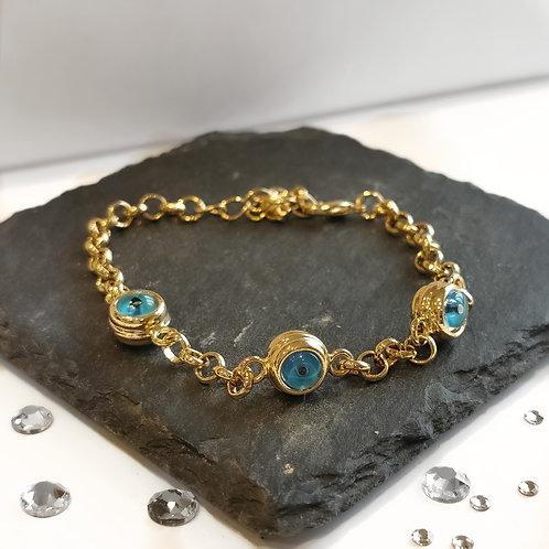 Evil Eye Chain Bracelet | Gold