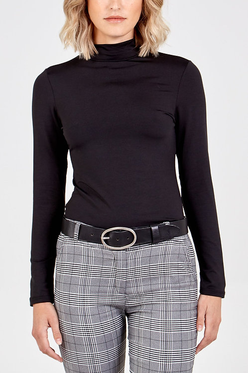 Black Fleece Lined Turtle Neck Top