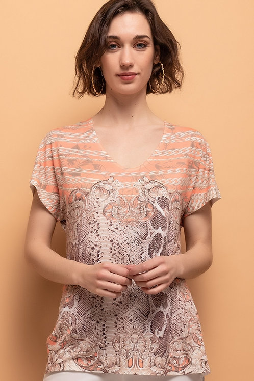 LIMITED EDITION Scoop Neck Short Sleeve T-Shirt With Crystal Detail