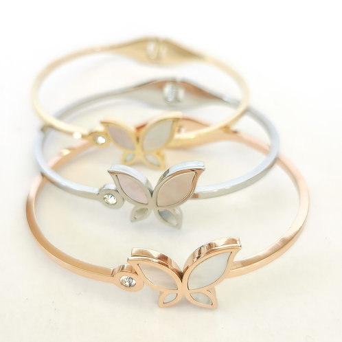 Pearl Butterfly & Crystal Stainless Steel Bangle | Rose Gold, Gold or Silver