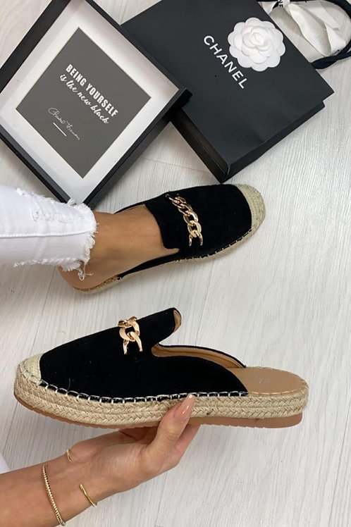 Slip-On Espadrilles with Chain Detail | Camel or Black