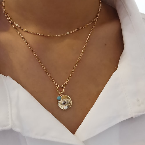 Double Layer Crystal Evil Eye Pendant Necklace with Turquoise Drop | Gold