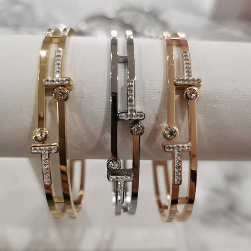Stainless Steel Crystal Bangle | Gold, Rose or Yellow Gold