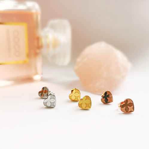Stainless Steel & Crystal Heart Stud Earrings | Gold, Silver or Rose Gold