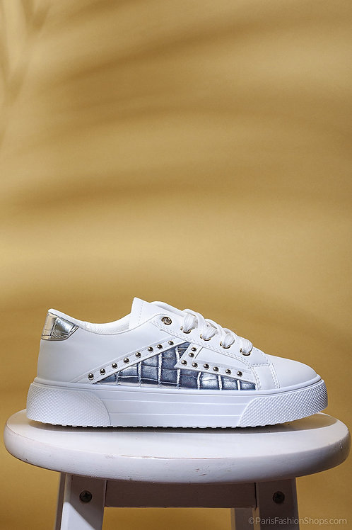 Silver Studded White Lace Up Trainers