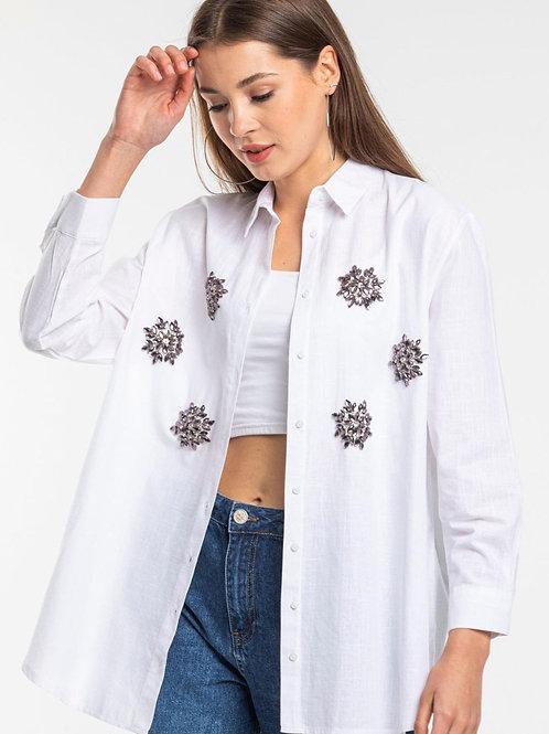 Oversized White Cotton Shirt with Crystal Embellishment