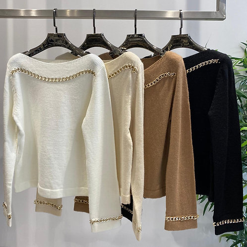 Wool Slash Neck Jumper with Gold Chain Detailing | One Size