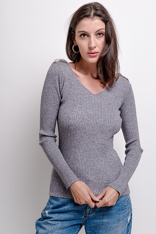 V-Neck Fitted Knitted Top with Crystal Button Detail   One Size