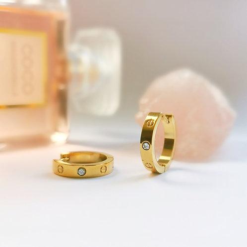 Gold Plated Stainless Steel & Crystal Screw Effect Hoop Earrings
