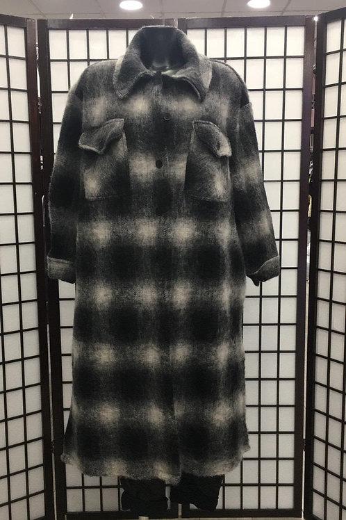 Check Maxi Shirt Jacket | Grey