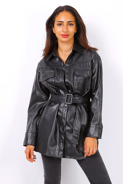 Leather Look Belted Shirt   S/M or L/XL