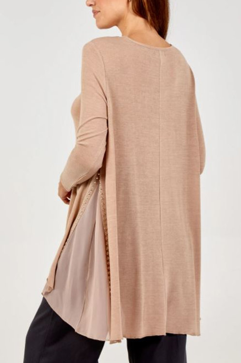 Gold Stud Dipped Hem Tunic With Sheer Panel | Taupe