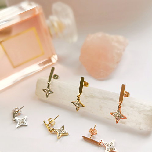 Stainless Steel and Crystal Star Earrings | Gold, Silver or Rose Gold