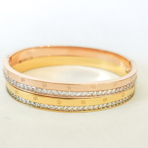 Screw Effect & Crystal Stainless Steel Bangle | Rose Gold or Gold