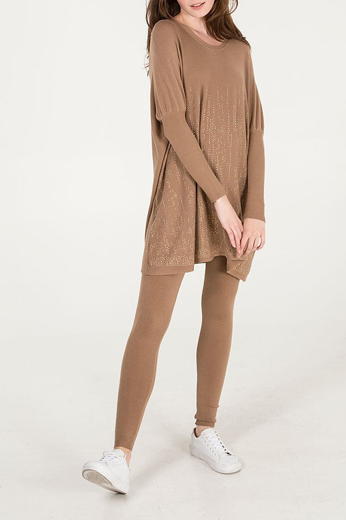 Gold Studded Oversized Batwing Top & Leggings Camel Loungewear Set