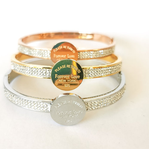 Forever Love & Crystal Stainless Steel Bangle | Rose Gold, Gold or Silver