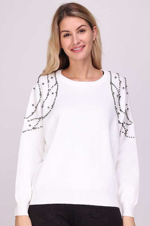 White Knitted Jumper with Stud Detailing