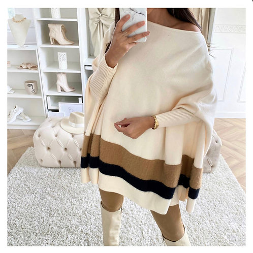Fluffy Textured Poncho | Cream or Black