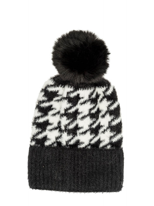 Faux Fur Houndstooth Winter Bobble Hat | Black or Grey