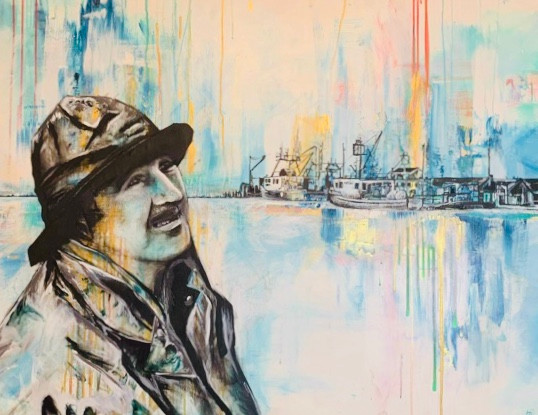 "Grandfather the Fisherman 38"" x 48"""