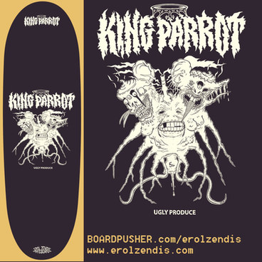 OFFICIAL KING PARROT UGLY PRODUCE DECKS BY EROL ZENDIS - AVAILABLE ON BOARDPUSHER