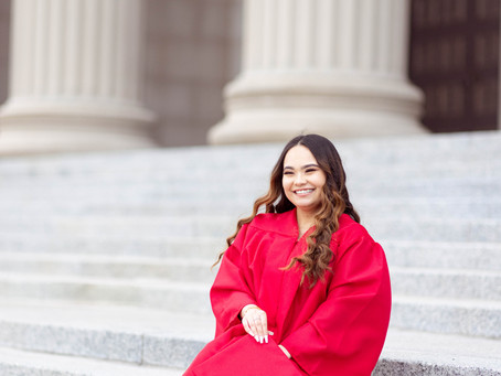 Jackson Park Cherry Blossom Senior Session   Chicago Museum of Science & Industry   Reyna Anahi