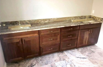 Double bowl granite vanity