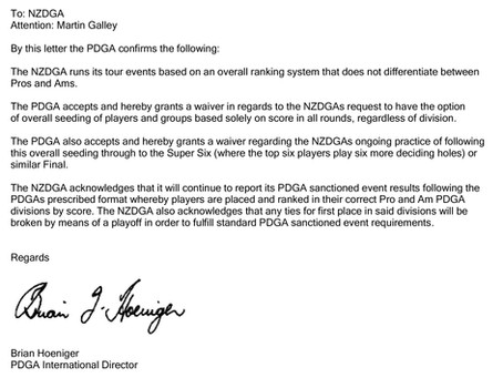 PDGA letter clarifying NZDG tour rules around Grouping and Sectioning.
