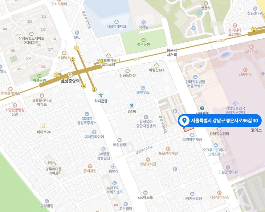 강남 삼성동 더바디샵 지도
