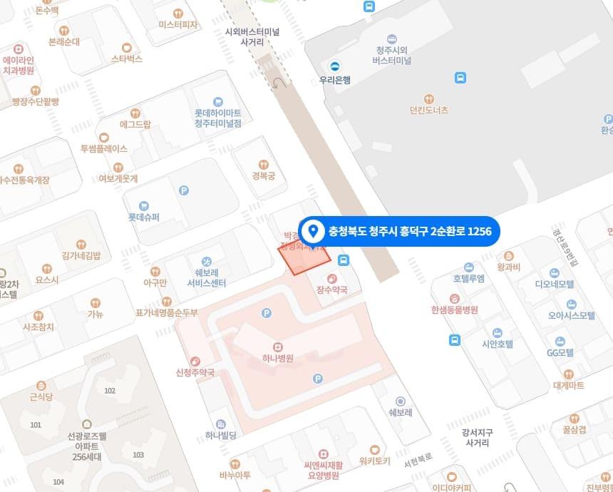 청주 강서동 드보떼스웨디시 지도