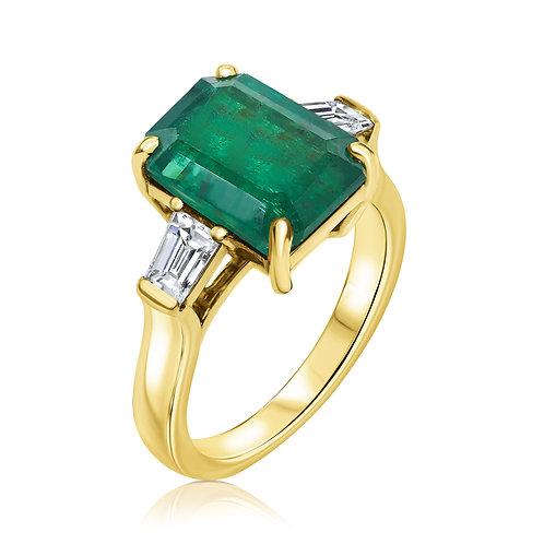 Ring with Natural Emerald and Diamonds | Кольцо с изумрудом и бриллиантами