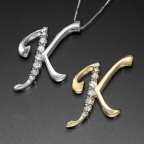 "Golden Letter ""K"" with Diamonds - Pendant on a Gold Chain"