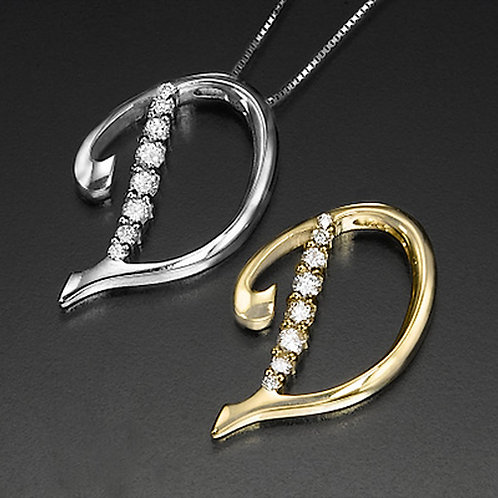 """Golden Letter """"D"""" with Diamonds - Pendant on a Gold Chain"""