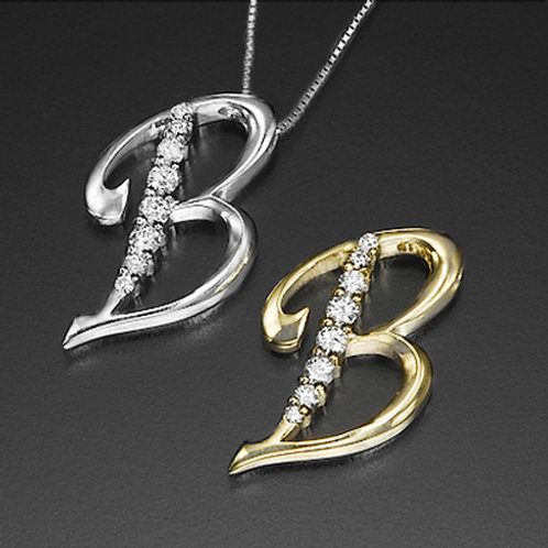 "Golden Letter ""B"" with Diamonds - Pendant on a Gold Chain"