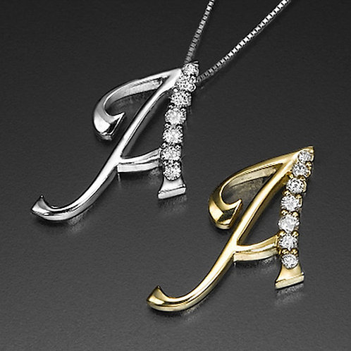 """Golden Letter """"A"""" with Diamonds - Pendant on a Gold Chain"""