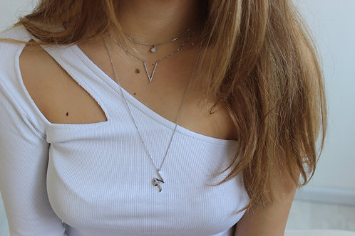 """Golden Letter """"N"""" with Diamonds - Pendant on a Gold Chain"""