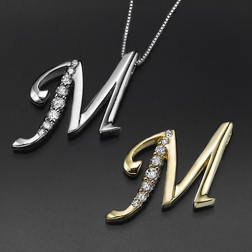"""Golden Letter """"M"""" with Diamonds - Pendant on a Gold Chain"""