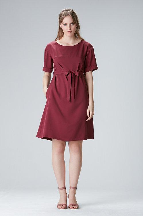 """Bordeaux Tencel dress """"EDDA"""""""