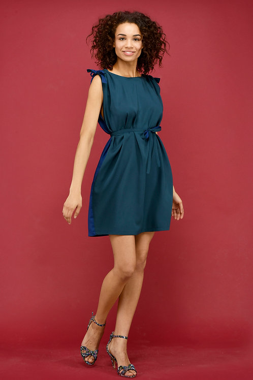 LILIA dress onesize, reversible green and blue