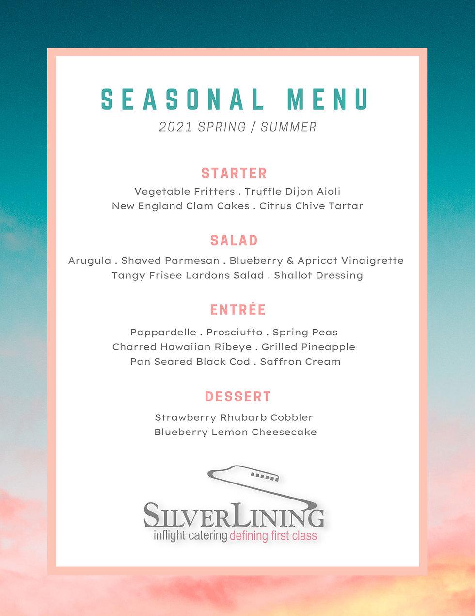 Silver Lining Inflight Catering _ MENU - Seasonal _ Spring Summer _ 04-20-2021